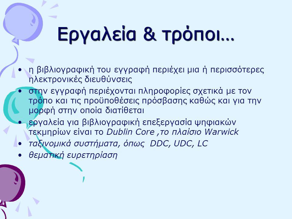 Εργαλεία & τρόποι… η βιβλιογραφική του εγγραφή περιέχει μια ή περισσότερες ηλεκτρονικές διευθύνσεις στην εγγραφή περιέχονται πληροφορίες σχετικά με τον τρόπο και τις προϋποθέσεις πρόσβασης καθώς και για την μορφή στην οποία διατίθεται εργαλεία για βιβλιογραφική επεξεργασία ψηφιακών τεκμηρίων είναι το Dublin Core,το πλαίσιο Warwick ταξινομικά συστήματα, όπως DDC, UDC, LC θεματική ευρετηρίαση