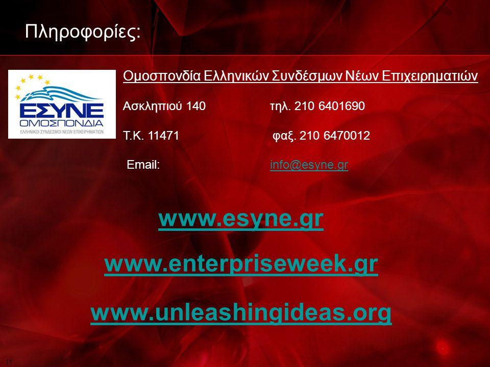 11 Πληροφορίες: Ομοσπονδία Ελληνικών Συνδέσμων Νέων Επιχειρηματιών Ασκληπιού 140τηλ.