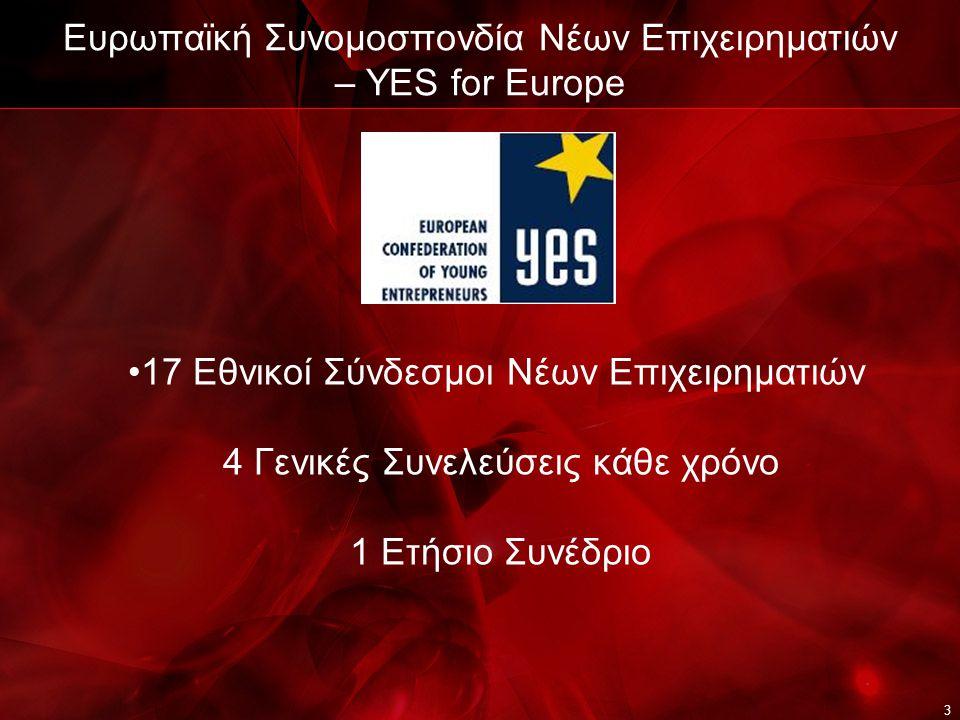 3 Ευρωπαϊκή Συνομοσπονδία Νέων Επιχειρηματιών – YES for Europe 17 Εθνικοί Σύνδεσμοι Νέων Επιχειρηματιών 4 Γενικές Συνελεύσεις κάθε χρόνο 1 Ετήσιο Συνέδριο