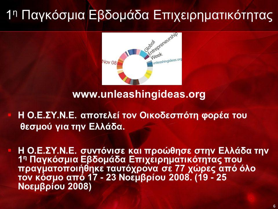 6 1 η Παγκόσμια Εβδομάδα Επιχειρηματικότητας www.unleashingideas.org  Η Ο.Ε.ΣΥ.Ν.Ε.