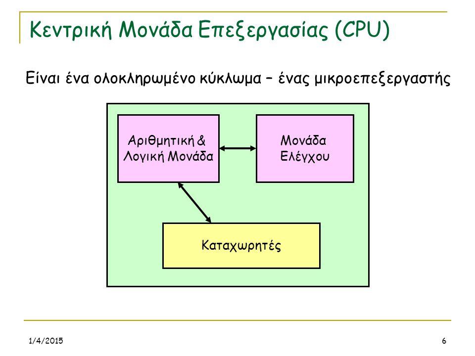 1/4/20156 Κεντρική Μονάδα Επεξεργασίας (CPU) Είναι ένα ολοκληρωμένο κύκλωμα – ένας μικροεπεξεργαστής Μονάδα Ελέγχου Αριθμητική & Λογική Μονάδα Καταχωρ