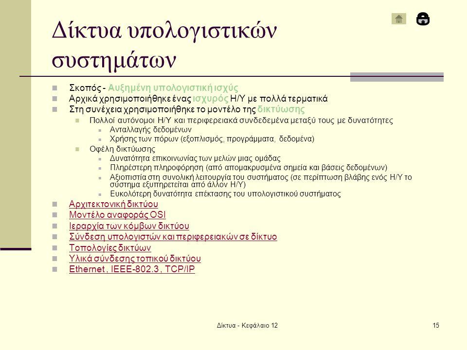 Δίκτυα - Κεφάλαιο 1215 Δίκτυα υπολογιστικών συστημάτων Σκοπός - Αυξημένη υπολογιστική ισχύς Αρχικά χρησιμοποιήθηκε ένας ισχυρός Η/Υ με πολλά τερματικά