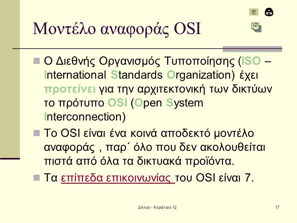 Δίκτυα - Κεφάλαιο 1217 Μοντέλο αναφοράς OSI Ο Διεθνής Οργανισμός Τυποποίησης (ISO – International Standards Organization) έχει προτείνει για την αρχιτεκτονική των δικτύων το πρότυπο OSI (Open System Interconnection) To OSI είναι ένα κοινά αποδεκτό μοντέλο αναφοράς, παρ΄ όλο που δεν ακολουθείται πιστά από όλα τα δικτυακά προϊόντα.