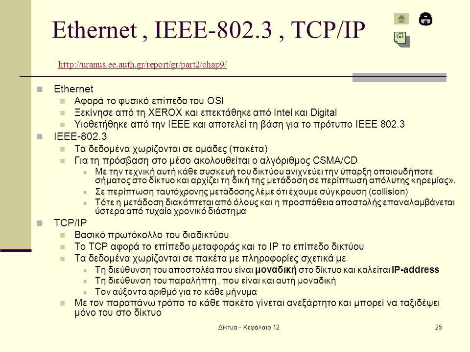 Δίκτυα - Κεφάλαιο 1225 Ethernet, IEEE-802.3, TCP/IP http://uranus.ee.auth.gr/report/gr/part2/chap9/ http://uranus.ee.auth.gr/report/gr/part2/chap9/ Ethernet Αφορά το φυσικό επίπεδο του OSI Ξεκίνησε από τη XEROX και επεκτάθηκε από Intel και Digital Υιοθετήθηκε από την IEEE και αποτελεί τη βάση για το πρότυπο IEEE 802.3 IEEE-802.3 Τα δεδομένα χωρίζονται σε ομάδες (πακέτα) Για τη πρόσβαση στο μέσο ακολουθείται ο αλγόριθμος CSMA/CD Με την τεχνική αυτή κάθε συσκευή του δικτύου ανιχνεύει την ύπαρξη οποιουδήποτε σήματος στο δίκτυο και αρχίζει τη δική της μετάδοση σε περίπτωση απόλυτης «ηρεμίας».