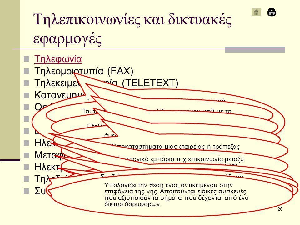Τηλεφωνία Τηλεομοιοτυπία (FAX) Τηλεκειμενογραφία (TELETEXT) Κατανεμημένη επεξεργασία δεδομένων On line υπηρεσίες Συστήματα IOS EDI Ηλεκτρονικό ταχυδρομείο Μεταφορά αρχείων Ηλεκτρονικός πίνακας ανακοινώσεων Τηλεδιάσκεψη Συστήματα εντοπισμού θέσης (GPS) Δίκτυα - Κεφάλαιο 1226 Τηλεπικοινωνίες και δικτυακές εφαρμογές 1.Μετάδοση αντιγράφου εγγράφου μέσα από τηλεφωνικές γραμμές 2.Μια συσκευή fax περιέχει modem, σαρωτή, μηχανισμό εκτύπωσης, μνήμη και ΚΜΕ 3.Fax μπορεί να στείλει και ο Η/Υ ή και τα κινητά τηλέφωνα Ταυτόχρονη μετάδοση σελίδων κειμένου μαζί με το τηλεοπτικό σήμα Εξελίσσεται σε δικτυωμένους Η/Υ π.χ τράπεζες άμεση επικοινωνία του χρήστη με απομακρυσμένο Η/Υ π.χ τράπεζες Υποκαταστήματα μιας εταιρείας ή τράπεζας είναι συνδεδεμένα online με το κεντρικό Ηλεκτρονικό εμπόριο π.χ επικοινωνία μεταξύ δυο εταιρειών με χρήση παραστατικών και ενημέρωση κατάλληλων στοιχείων on-line Ένα μήνυμα περιέχει οποιοδήποτε αρχείο και κοινοποιείται σε πολλούς χρήστες Μεταφορά αρχείων μεταξύ δυο σημείων δικτύων Ιδιαίτερα δημοφιλής πριν την εξάπλωση του διαδικτύου (επικοινωνία μεταξύ χρηστών, μεταφορά αρχείων, ηλεκτρονικό ταχυδρομείο) Συνδιάσκεψη ενός αριθμού ατόμων με μετάδοση εικόνας, ήχου και δεδομένων σε πραγματικό χρόνο.