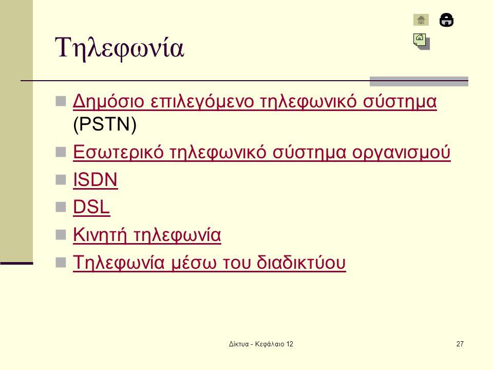 Δίκτυα - Κεφάλαιο 1227 Τηλεφωνία Δημόσιο επιλεγόμενο τηλεφωνικό σύστημα (PSTN) Δημόσιο επιλεγόμενο τηλεφωνικό σύστημα Εσωτερικό τηλεφωνικό σύστημα οργανισμού ISDN DSL Κινητή τηλεφωνία Τηλεφωνία μέσω του διαδικτύου