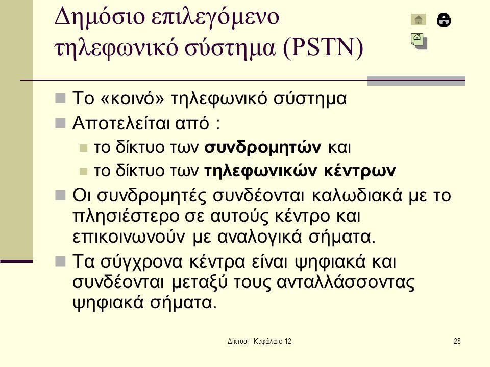 Δίκτυα - Κεφάλαιο 1228 Δημόσιο επιλεγόμενο τηλεφωνικό σύστημα (PSTN) Το «κοινό» τηλεφωνικό σύστημα Αποτελείται από : το δίκτυο των συνδρομητών και το δίκτυο των τηλεφωνικών κέντρων Οι συνδρομητές συνδέονται καλωδιακά με το πλησιέστερο σε αυτούς κέντρο και επικοινωνούν με αναλογικά σήματα.