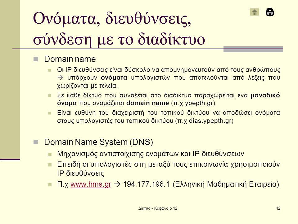 Ονόματα, διευθύνσεις, σύνδεση με το διαδίκτυο Domain name Οι IP διευθύνσεις είναι δύσκολο να απομνημονευτούν από τους ανθρώπους  υπάρχουν ονόματα υπολογιστών που αποτελούνται από λέξεις που χωρίζονται με τελεία.