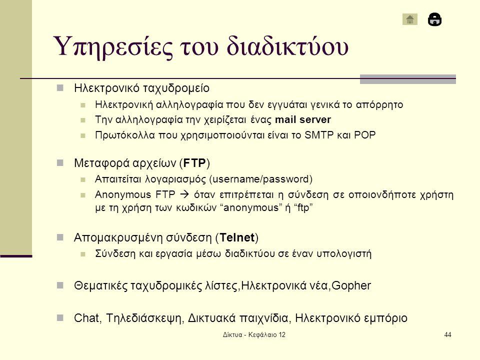 Υπηρεσίες του διαδικτύου Ηλεκτρονικό ταχυδρομείο Ηλεκτρονική αλληλογραφία που δεν εγγυάται γενικά το απόρρητο Την αλληλογραφία την χειρίζεται ένας mail server Πρωτόκολλα που χρησιμοποιούνται είναι το SMTP και POP Μεταφορά αρχείων (FTP) Απαιτείται λογαριασμός (username/password) Anonymous FTP  όταν επιτρέπεται η σύνδεση σε οποιονδήποτε χρήστη με τη χρήση των κωδικών anonymous ή ftp Απομακρυσμένη σύνδεση (Telnet) Σύνδεση και εργασία μέσω διαδικτύου σε έναν υπολογιστή Θεματικές ταχυδρομικές λίστες,Ηλεκτρονικά νέα,Gopher Chat, Τηλεδιάσκεψη, Δικτυακά παιχνίδια, Ηλεκτρονικό εμπόριο Δίκτυα - Κεφάλαιο 1244