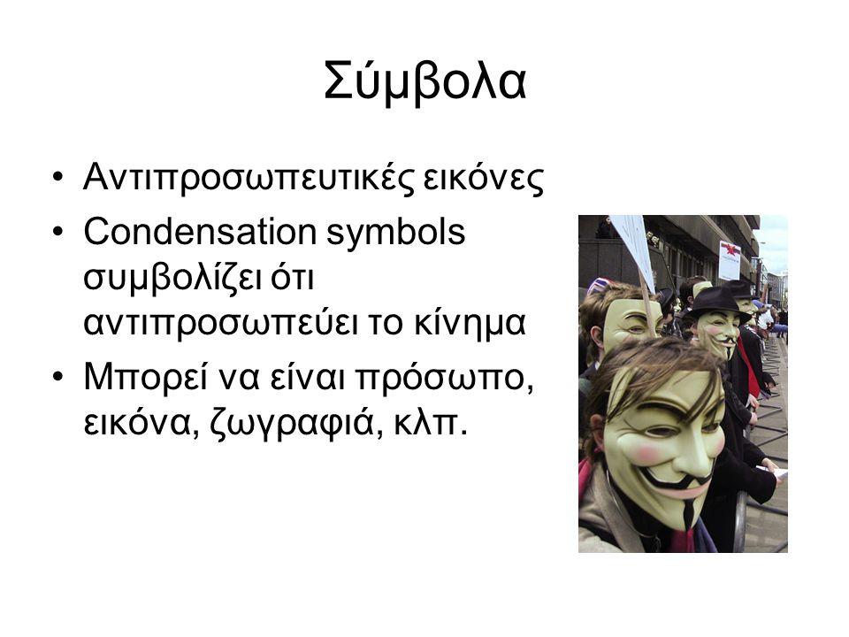 Σύμβολα Αντιπροσωπευτικές εικόνες Condensation symbols συμβολίζει ότι αντιπροσωπεύει το κίνημα Μπορεί να είναι πρόσωπο, εικόνα, ζωγραφιά, κλπ.