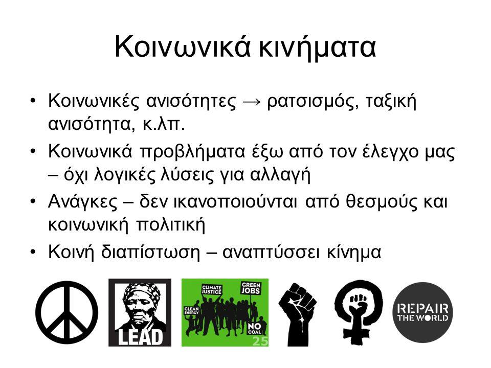 Κοινωνικά κινήματα Κοινωνικές ανισότητες → ρατσισμός, ταξική ανισότητα, κ.λπ.