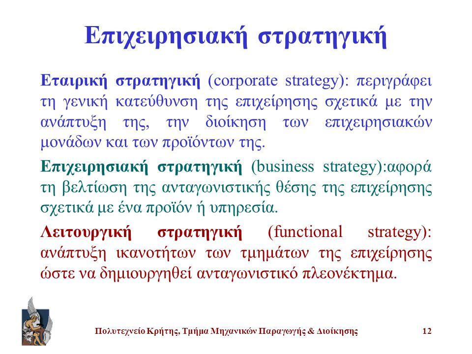 Πολυτεχνείο Κρήτης, Τμήμα Μηχανικών Παραγωγής & Διοίκησης12 Επιχειρησιακή στρατηγική Εταιρική στρατηγική (corporate strategy): περιγράφει τη γενική κα