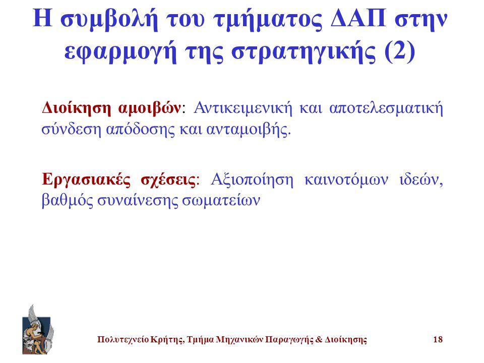 Πολυτεχνείο Κρήτης, Τμήμα Μηχανικών Παραγωγής & Διοίκησης18 Η συμβολή του τμήματος ΔΑΠ στην εφαρμογή της στρατηγικής (2) Διοίκηση αμοιβών: Αντικειμενι