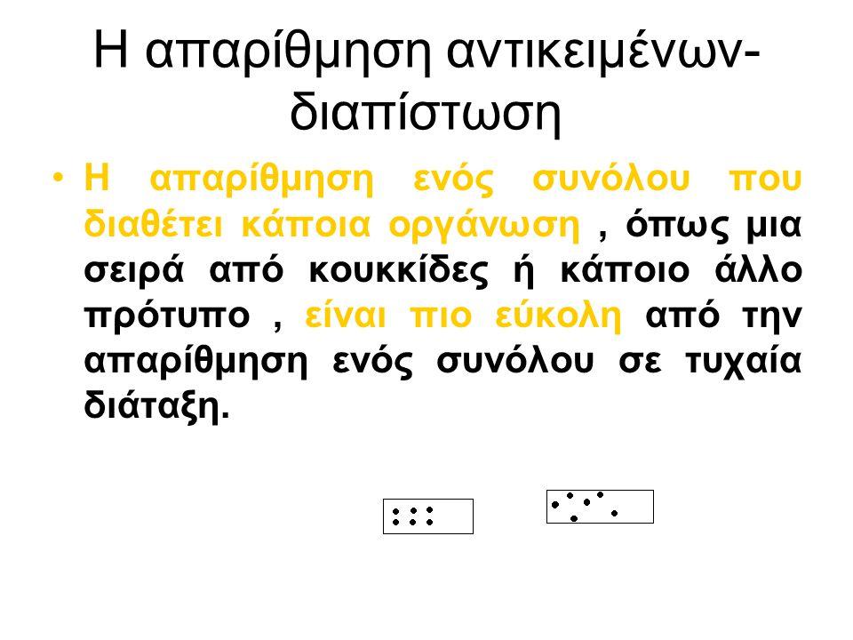 Η απαρίθμηση αντικειμένων- διαπίστωση Η απαρίθμηση ενός συνόλου που διαθέτει κάποια οργάνωση, όπως μια σειρά από κουκκίδες ή κάποιο άλλο πρότυπο, είνα