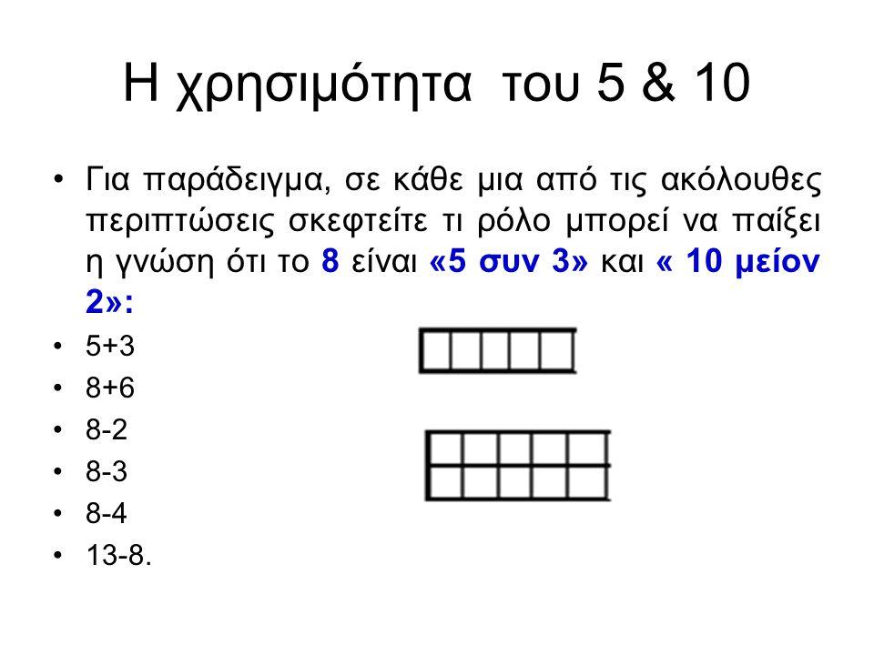 Η χρησιμότητα του 5 & 10 Για παράδειγμα, σε κάθε μια από τις ακόλουθες περιπτώσεις σκεφτείτε τι ρόλο μπορεί να παίξει η γνώση ότι το 8 είναι «5 συν 3» και « 10 μείον 2»: 5+3 8+6 8-2 8-3 8-4 13-8.