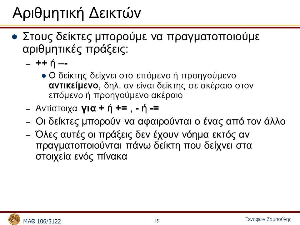 MΑΘ 106/3122 Ξενοφών Ζαμπούλης 15 Αριθμητική Δεικτών Στους δείκτες μπορούμε να πραγματοποιούμε αριθμητικές πράξεις: – ++ ή –- Ο δείκτης δείχνει στο επόμενο ή προηγούμενο αντικείμενο, δηλ.