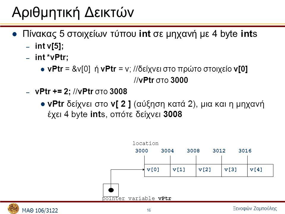 MΑΘ 106/3122 Ξενοφών Ζαμπούλης 16 Αριθμητική Δεικτών Πίνακας 5 στοιχείων τύπου int σε μηχανή με 4 byte ints – int v[5]; – int *vPtr; vPtr = &v[0] ή vPtr = v; //δείχνει στο πρώτο στοιχείο v[0] //vPtr στο 3000 – vPtr += 2; //vPtr στο 3008 vPtr δείχνει στο v[ 2 ] (αύξηση κατά 2), μια και η μηχανή έχει 4 byte ints, οπότε δείχνει 3008 pointer variable vPtr v[0]v[1]v[2]v[4]v[3] 30003004300830123016 location