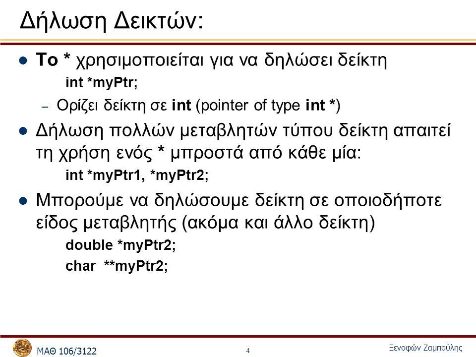 MΑΘ 106/3122 Ξενοφών Ζαμπούλης 4 Δήλωση Δεικτών: Το * χρησιμοποιείται για να δηλώσει δείκτη int *myPtr; – Ορίζει δείκτη σε int (pointer of type int *) Δήλωση πολλών μεταβλητών τύπου δείκτη απαιτεί τη χρήση ενός * μπροστά από κάθε μία: int *myPtr1, *myPtr2; Μπορούμε να δηλώσουμε δείκτη σε οποιοδήποτε είδος μεταβλητής (ακόμα και άλλο δείκτη) double *myPtr2; char **myPtr2;