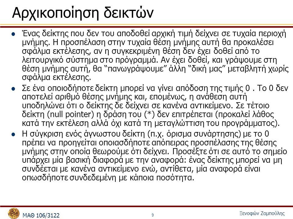 MΑΘ 106/3122 Ξενοφών Ζαμπούλης 9 Αρχικοποίηση δεικτών Ένας δείκτης που δεν του αποδοθεί αρχική τιμή δείχνει σε τυχαία περιοχή μνήμης. Η προσπέλαση στη