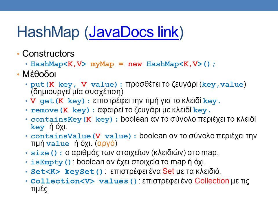 HashMap (JavaDocs link)JavaDocs link Constructors HashMap myMap = new HashMap (); Μέθοδοι put(K key, V value): προσθέτει το ζευγάρι ( key,value ) (δημιουργεί μία συσχέτιση) V get(Κ key): επιστρέφει την τιμή για το κλειδί key.