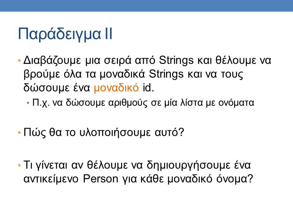 Παράδειγμα ΙI Διαβάζουμε μια σειρά από Strings και θέλουμε να βρούμε όλα τα μοναδικά Strings και να τους δώσουμε ένα μοναδικό id. Π.χ. να δώσουμε αριθ