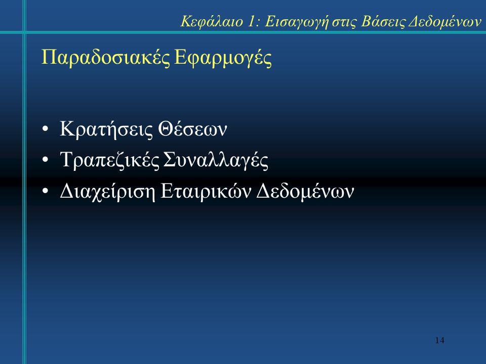 14 Κεφάλαιο 1: Εισαγωγή στις Βάσεις Δεδομένων Κρατήσεις Θέσεων Τραπεζικές Συναλλαγές Διαχείριση Εταιρικών Δεδομένων Παραδοσιακές Εφαρμογές