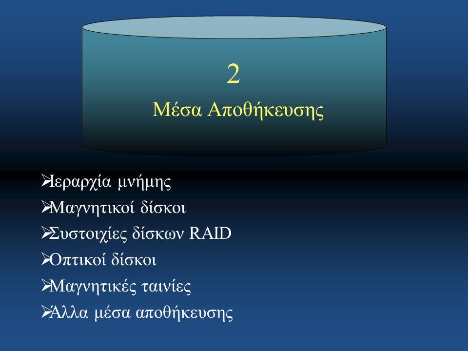 2 Μέσα Αποθήκευσης  Ιεραρχία μνήμης  Μαγνητικοί δίσκοι  Συστοιχίες δίσκων RAID  Οπτικοί δίσκοι  Μαγνητικές ταινίες  Άλλα μέσα αποθήκευσης