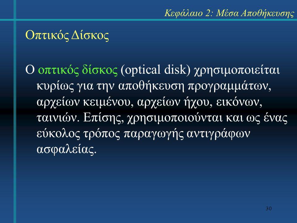 30 Κεφάλαιο 2: Μέσα Αποθήκευσης Ο οπτικός δίσκος (optical disk) χρησιμοποιείται κυρίως για την αποθήκευση προγραμμάτων, αρχείων κειμένου, αρχείων ήχου, εικόνων, ταινιών.