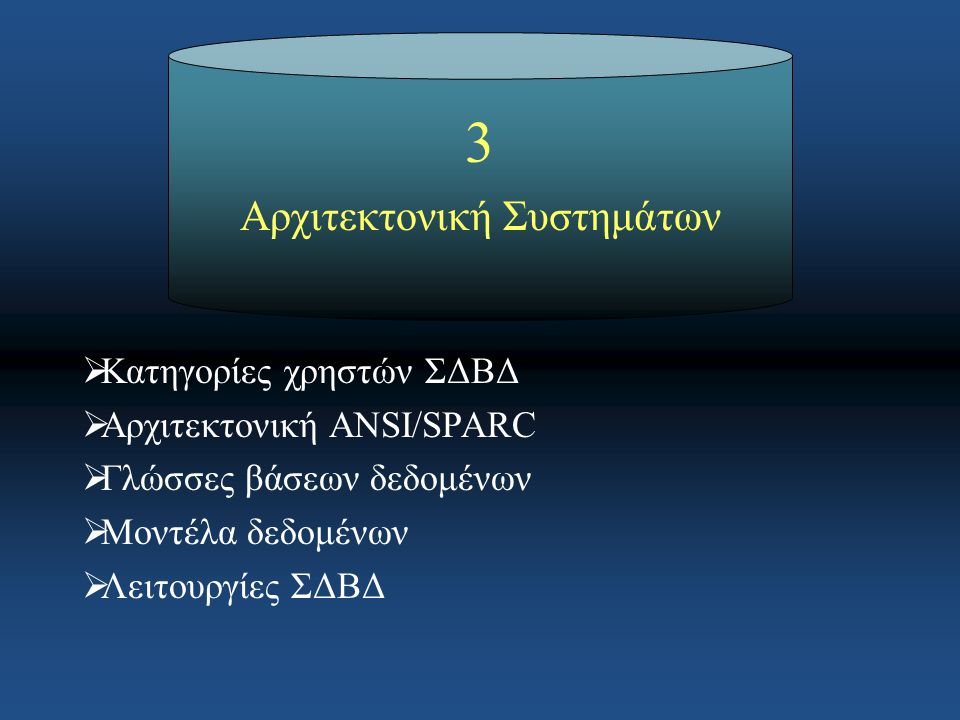 3 Αρχιτεκτονική Συστημάτων  Κατηγορίες χρηστών ΣΔΒΔ  Αρχιτεκτονική ANSI/SPARC  Γλώσσες βάσεων δεδομένων  Μοντέλα δεδομένων  Λειτουργίες ΣΔΒΔ