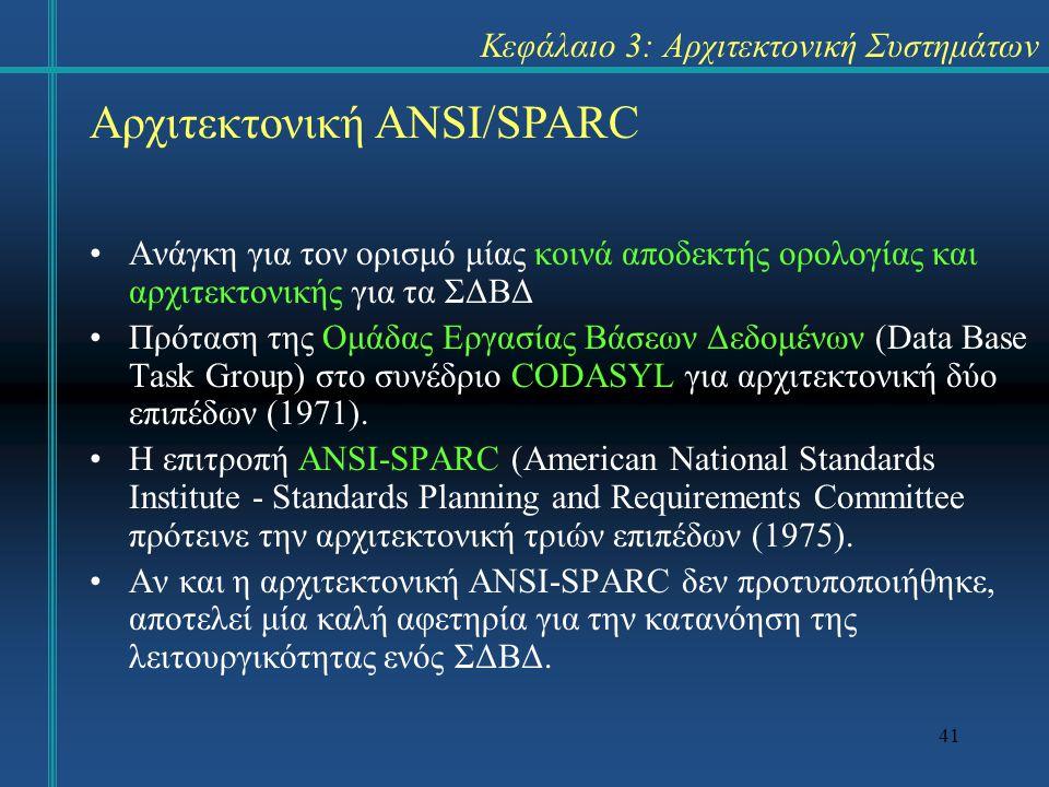 41 Κεφάλαιο 3: Αρχιτεκτονική Συστημάτων Ανάγκη για τον ορισμό μίας κοινά αποδεκτής ορολογίας και αρχιτεκτονικής για τα ΣΔΒΔ Πρόταση της Ομάδας Εργασίας Βάσεων Δεδομένων (Data Base Task Group) στο συνέδριο CODASYL για αρχιτεκτονική δύο επιπέδων (1971).