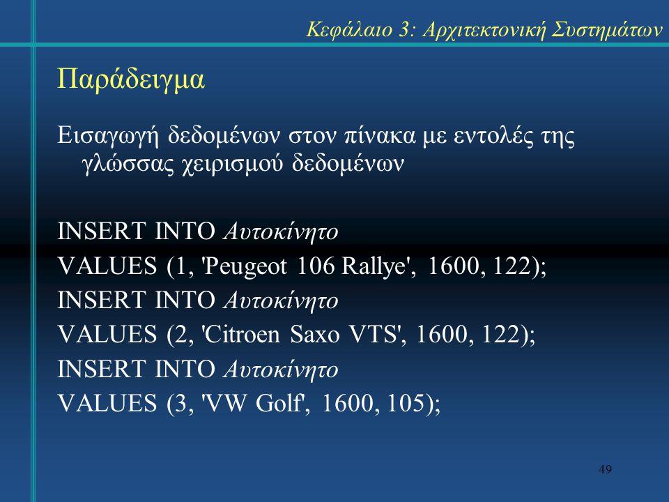 49 Κεφάλαιο 3: Αρχιτεκτονική Συστημάτων Εισαγωγή δεδομένων στον πίνακα με εντολές της γλώσσας χειρισμού δεδομένων INSERT INTO Αυτοκίνητο VALUES (1, 'P