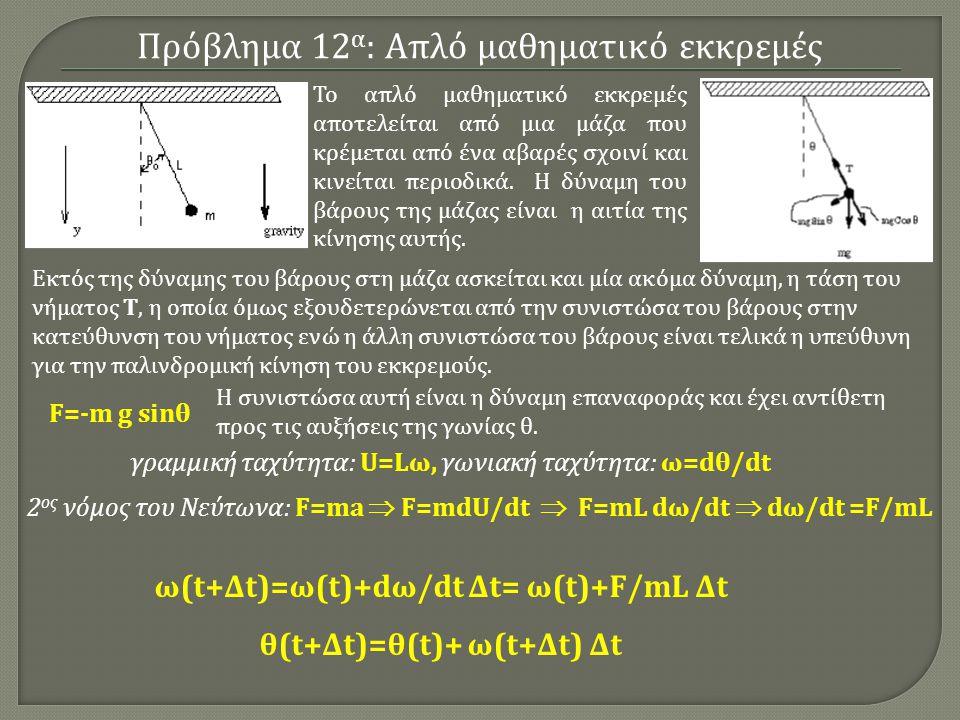 Πρόβλημα 12 α : Απλό μαθηματικό εκκρεμές Το απλό μαθηματικό εκκρεμές αποτελείται από μια μάζα που κρέμεται από ένα αβαρές σχοινί και κινείται περιοδικά.