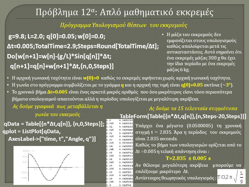 Πρόβλημα 12 α : Απλό μαθηματικό εκκρεμές g=9.8; L=2.0; q[0]=0.05; w[0]=0.0; Δt=0.005;TotalTime=2.9;Steps=Round[TotalTime/Δt]; Do[w[n+1]=w[n]-(g/L)*Sin[q[n]]*Δt; q[n+1]=q[n]+w[n+1]*Δt,{n,0,Steps}] Η μάζα του εκκρεμούς δεν εμφανίζεται στους υπολογισμούς καθώς απαλοίφεται μετά τις αντικαταστάσεις.