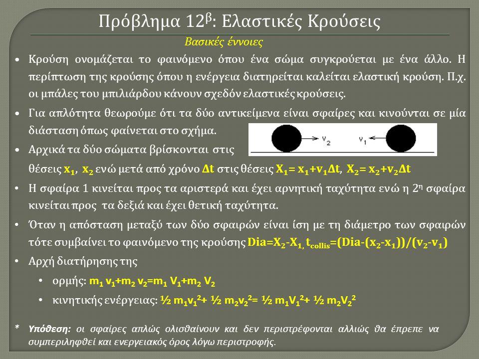 Πρόβλημα 12 β : Ελαστικές Κρούσεις Κρούση ονομάζεται το φαινόμενο όπου ένα σώμα συγκρούεται με ένα άλλο.
