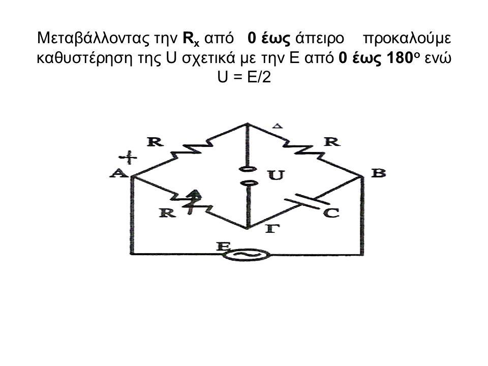 Μεταβάλλοντας την R x από 0 έως άπειρο προκαλούμε καθυστέρηση της U σχετικά με την Ε από 0 έως 180 o ενώ U = Ε/2