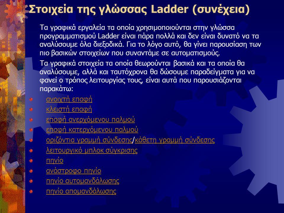 Στοιχεία της γλώσσας Ladder (συνέχεια) Τα γραφικά εργαλεία τα οποία χρησιμοποιούνται στην γλώσσα προγραμματισμού Ladder είναι πάρα πολλά και δεν είναι
