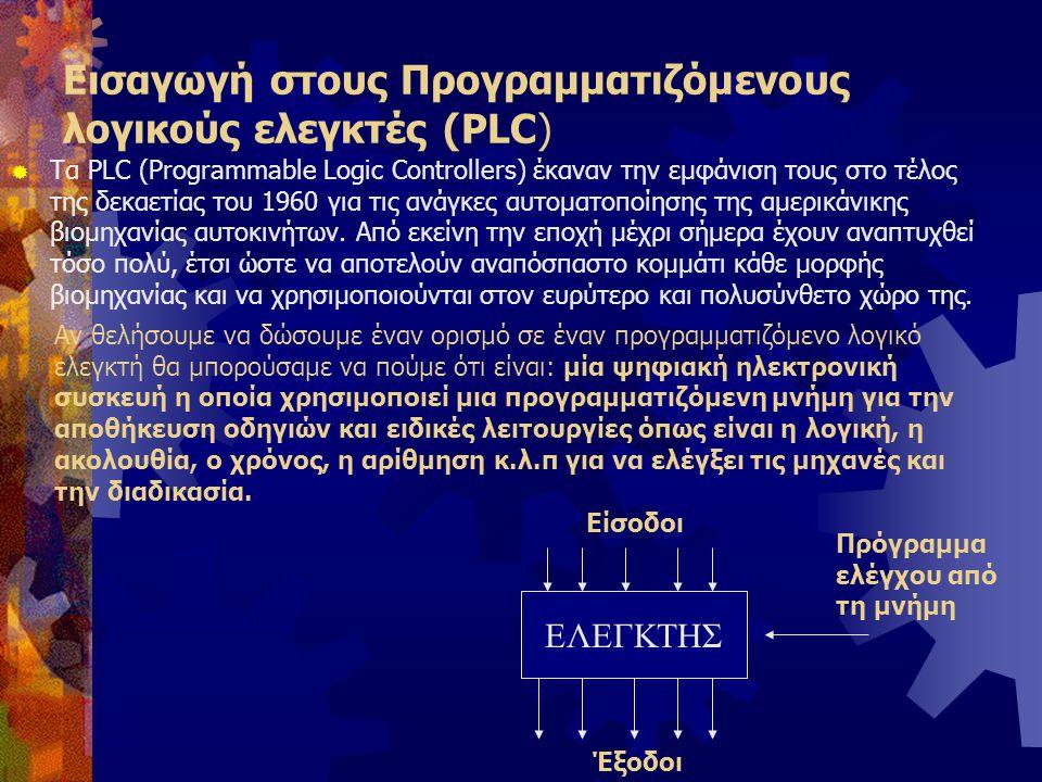 Βασική δομή ενός PLC  Ένα PLC αποτελείται από τέσσερα βασικά μέρη:  Τις εισόδους (Ι)  Τις εξόδους (Q)  Τη μνήμη, όπου αποθηκεύεται το πρόγραμμα  Τον επεξεργαστή, ο οποίος ΄΄διαβάζει΄΄ την λογική κατάσταση των εισόδων και στη συνέχεια θέτει σε λογική κατάσταση ΄΄1΄΄ ή ΄΄0΄΄ τις εξόδους, σε συνάρτηση με τις εντολές προγράμματος.