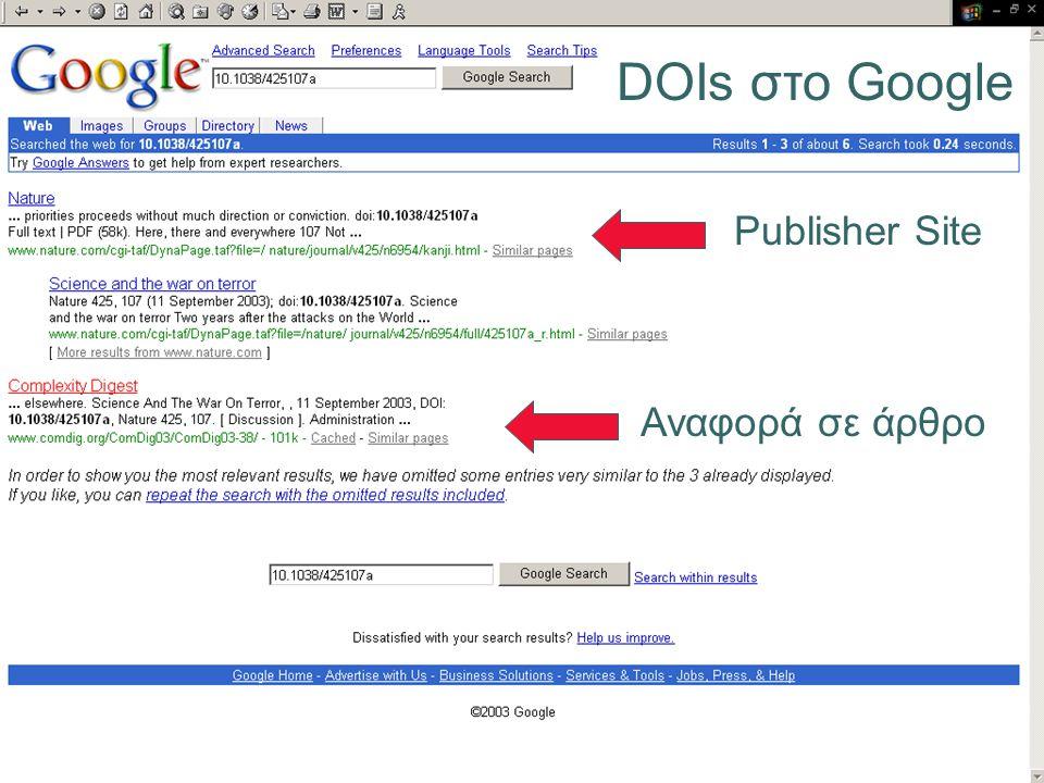 DOIs στο Google Αναφορά σε άρθρο Publisher Site