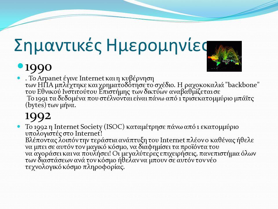 Σημαντικές Ημερομηνίες 1984 Το Domain Name System (DNS) παρουσιάστηκε το 1984.Αυτο το σύστημα έδινε λύση με το να δίνει ονόματα στις ip διευθύνσεις.