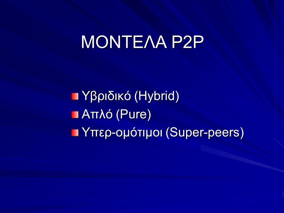 ΜΟΝΤΕΛΑ Ρ2Ρ Υβριδικό (Hybrid) Απλό (Pure) Υπερ-ομότιμοι (Super-peers)