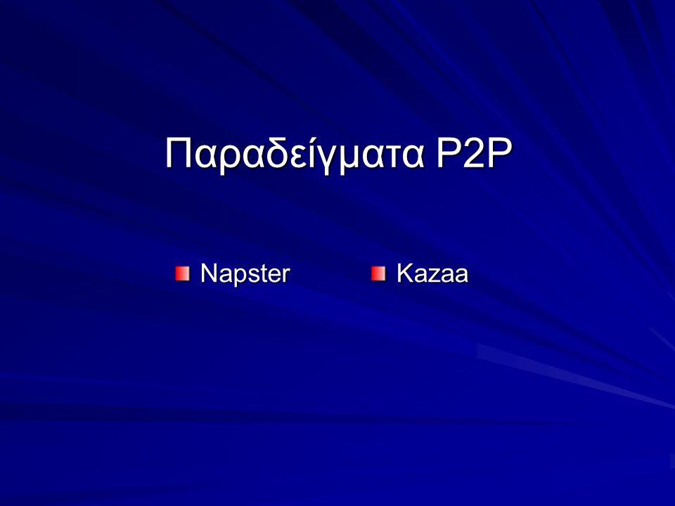 Παραδείγματα Ρ2Ρ NapsterKazaa