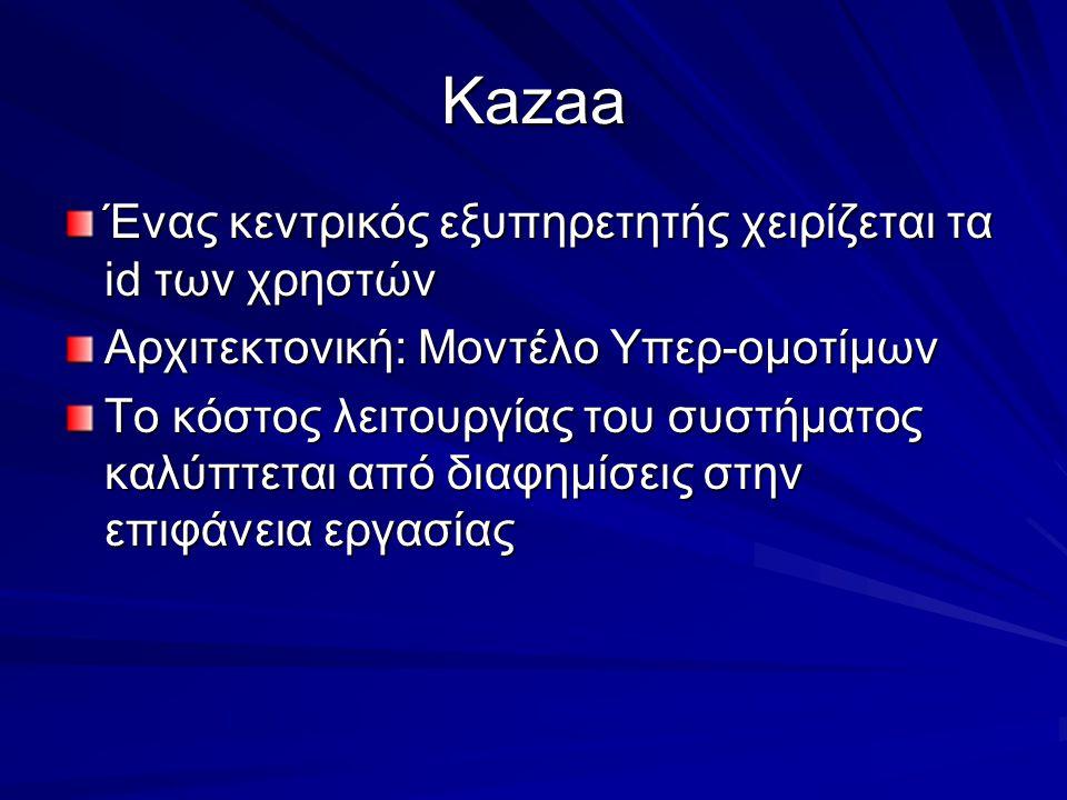 Kazaa Ένας κεντρικός εξυπηρετητής χειρίζεται τα id των χρηστών Αρχιτεκτονική: Μοντέλο Υπερ-ομοτίμων Το κόστος λειτουργίας του συστήματος καλύπτεται από διαφημίσεις στην επιφάνεια εργασίας