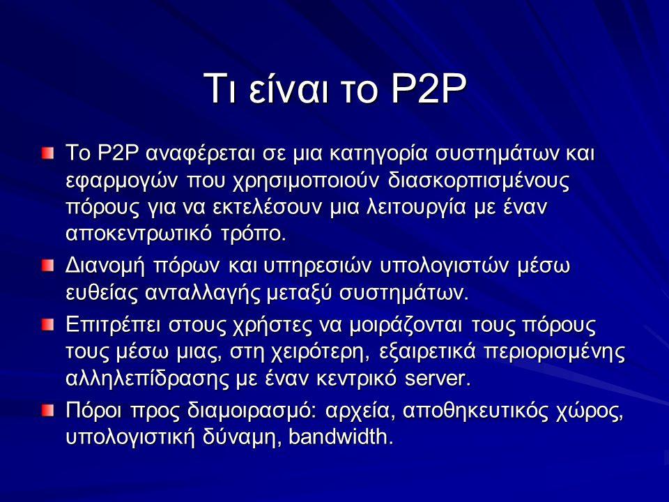 Τι είναι το P2P Το P2P αναφέρεται σε μια κατηγορία συστημάτων και εφαρμογών που χρησιμοποιούν διασκορπισμένους πόρους για να εκτελέσουν μια λειτουργία με έναν αποκεντρωτικό τρόπο.