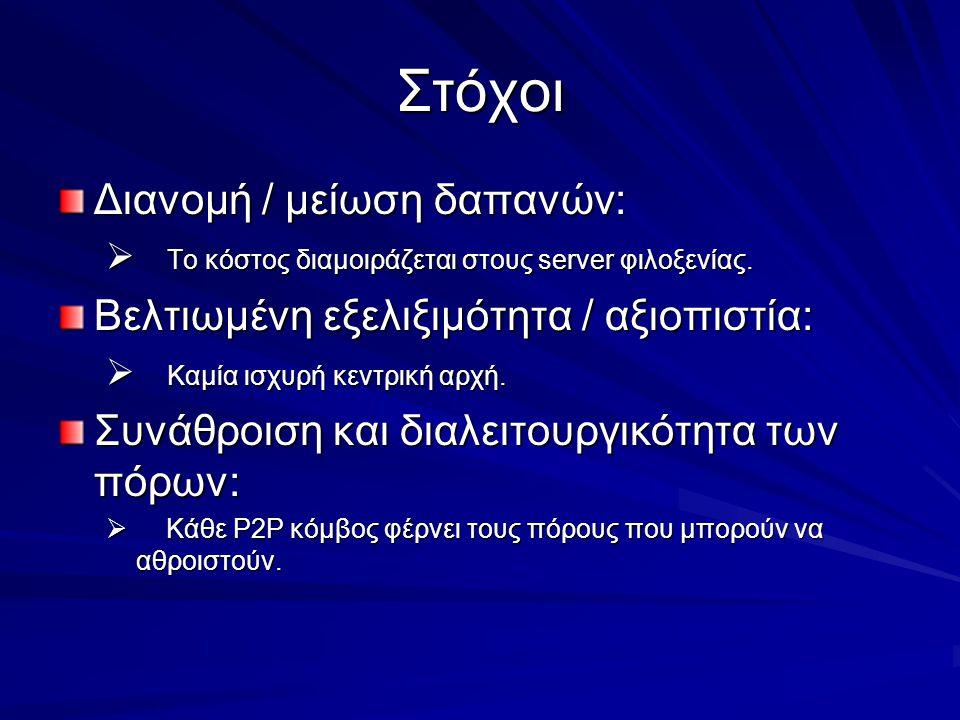 Στόχοι Διανομή / μείωση δαπανών:  Το κόστος διαμοιράζεται στους server φιλοξενίας.