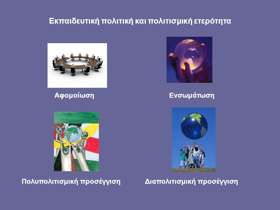 Εκπαιδευτική πολιτική και πολιτισμική ετερότητα AφομοίωσηEνσωμάτωση Πολυπολιτισμική προσέγγιση Διαπολιτισμική προσέγγιση