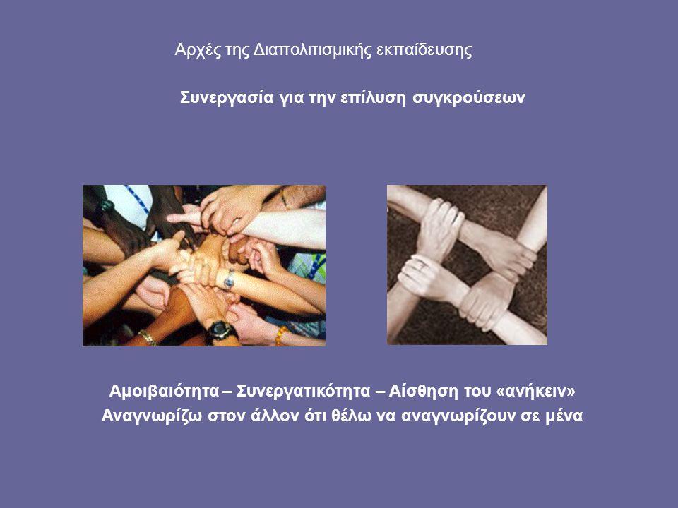 Αμοιβαιότητα – Συνεργατικότητα – Αίσθηση του «ανήκειν» Αναγνωρίζω στον άλλον ότι θέλω να αναγνωρίζουν σε μένα Αρχές της Διαπολιτισμικής εκπαίδευσης