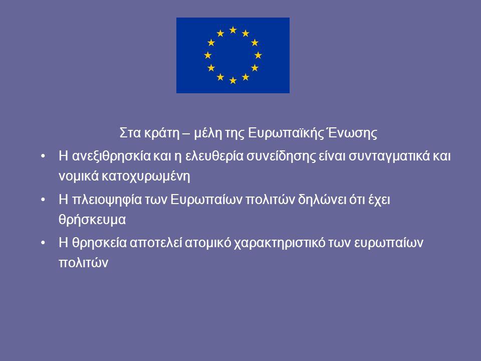 Στα κράτη – μέλη της Ευρωπαϊκής Ένωσης Η ανεξιθρησκία και η ελευθερία συνείδησης είναι συνταγματικά και νομικά κατοχυρωμένη Η πλειοψηφία των Ευρωπαίων πολιτών δηλώνει ότι έχει θρήσκευμα Η θρησκεία αποτελεί ατομικό χαρακτηριστικό των ευρωπαίων πολιτών