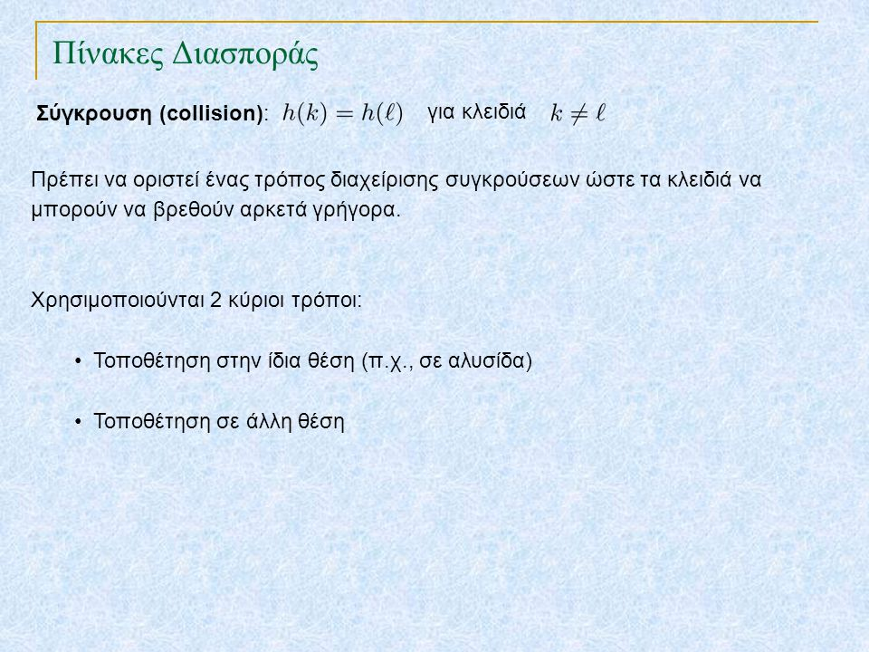 Πίνακες Διασποράς TexPoint fonts used in EMF. Read the TexPoint manual before you delete this box.: AA A AA A A Σύγκρουση (collision): για κλειδιά Πρέ