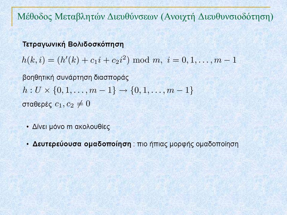 Μέθοδος Μεταβλητών Διευθύνσεων (Ανοιχτή Διευθυνσιοδότηση) Τετραγωνική Βολιδοσκόπηση βοηθητική συνάρτηση διασποράς Δίνει μόνο m ακολουθίες Δευτερεύουσα