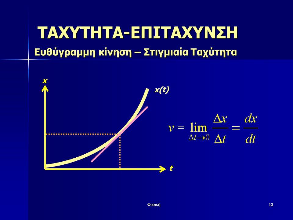 Φυσική13 x(t) x t ΤΑΧΥΤΗΤΑ-ΕΠΙΤΑΧΥΝΣΗ Ευθύγραμμη κίνηση – Στιγμιαία Ταχύτητα